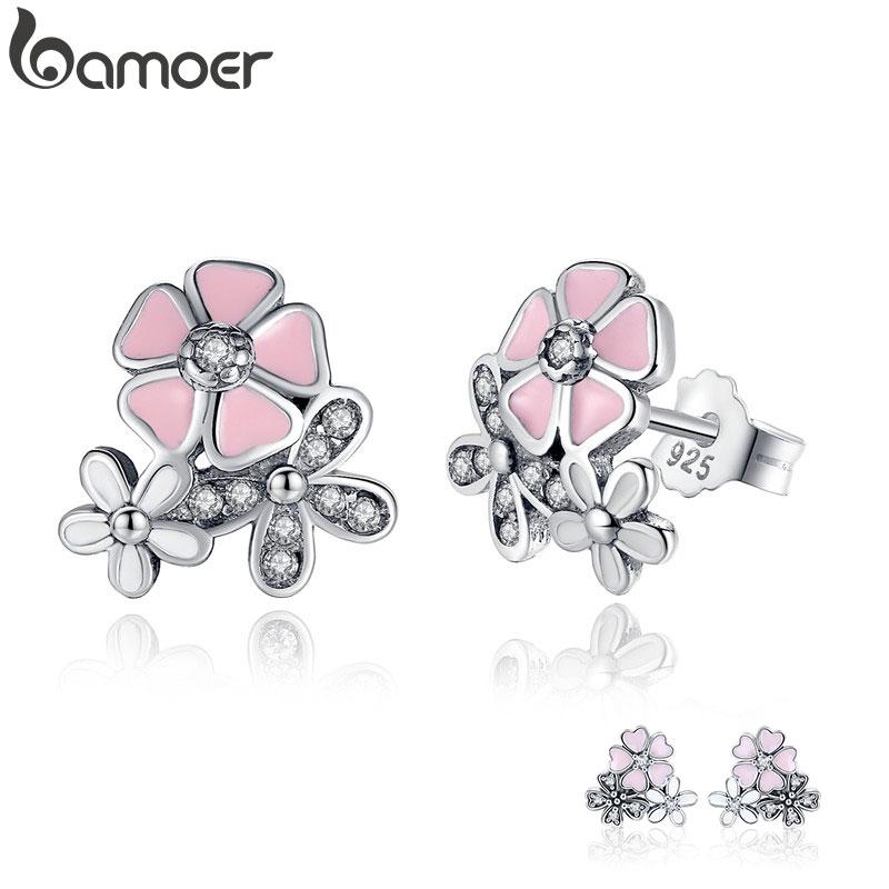 925 Sterling Silver Poetic Daisy Cherry Blossom Stud Earrings Mixed & Clear CZ Pink Flower Women ANNIVERSARY SALE PAS461|earrings personalized|earring womenearrings goth - AliExpress