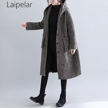 Coat Female 2020 Autumn Fashion Women Brown Coat Long Style Pocket Woolen Coat Ladies Casual Plaid Loose Black Oversize Coat plaid loose fitting pocket design coat