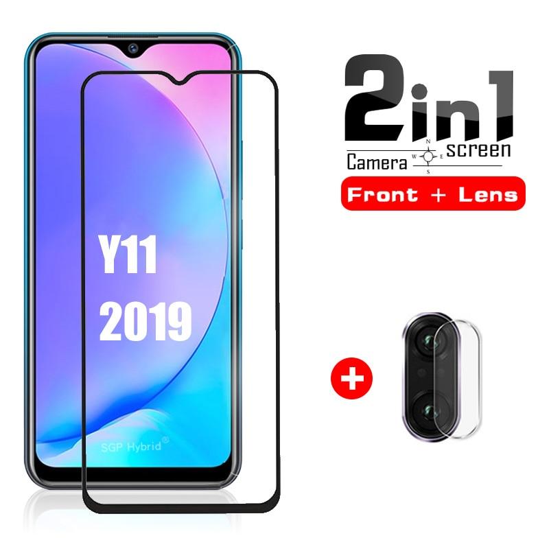 Защитное стекло для vivo Y11, закаленное стекло с полным покрытием, 2 в 1, Защитная пленка для объектива камеры Vivo y11 vivo y 11 Y 11, 2019