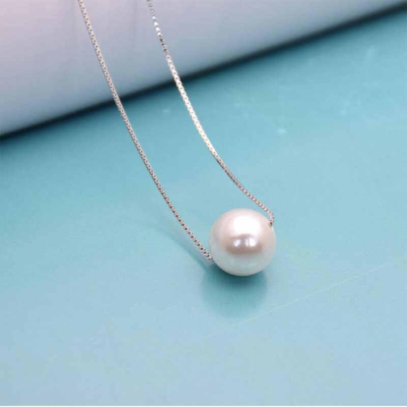 Nette 925 Sterling Silber Schmuck Einfache Hot Fashion 10mm Süßwasser Perle Kette Halskette kolye collares bijoux femme