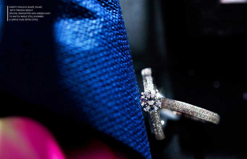 Gửi Giấy Chứng Nhận! Bộ Trang Sức Nữ Cao Cấp 100% Nguyên Bản Nhẫn Bạc 925 Bộ Nữ Cubic Zircon Cưới, Nhẫn Bộ Quà Tặng CR131