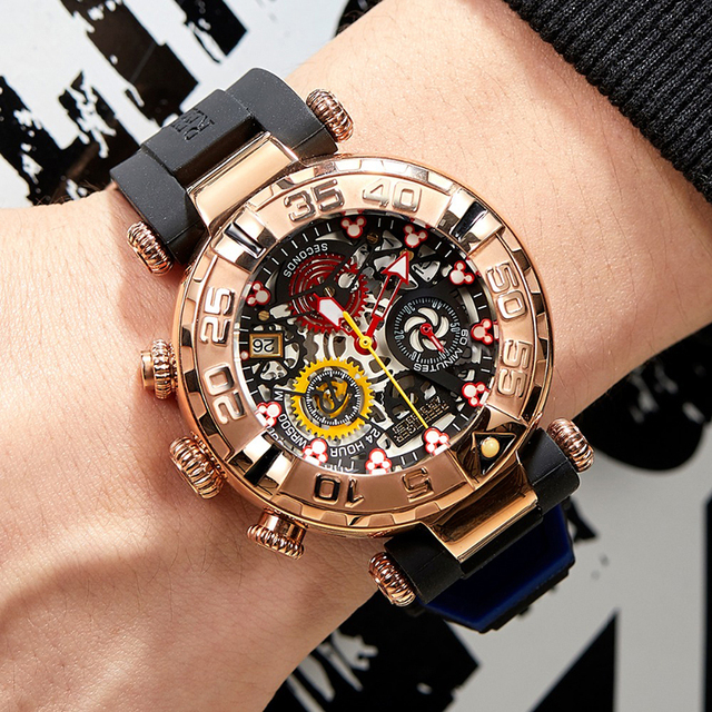 Reef Tiger/RT relojes deportivos para hombre, cronógrafo rosa, mecanismo a la vista dorado, resistente al agua, masculino, RGA3059 S