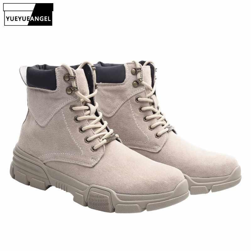 Herbst Winter Fleece Warme Männer Militär Stiefeletten Große Größe Echtem Leder Schuhe Lace Up Stiefel 2019 Neue Marke Sicherheit schuhe