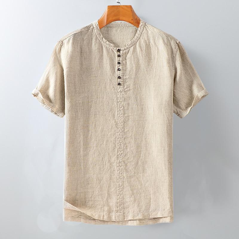 100%Linen Short Sleeve Shirts Men 2020 Summer Collarless Solid White Khaki Casual Pullover Shirt