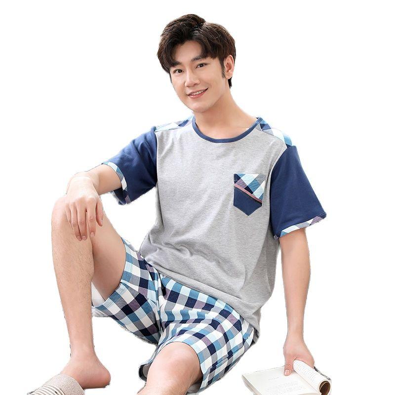 Summer 100%Cotton Striped Pajama Sets Men's Loungewear Pijama Hombre Pyjamas Men Pajamas Sleepwear Nightwear Plus Size Homewear