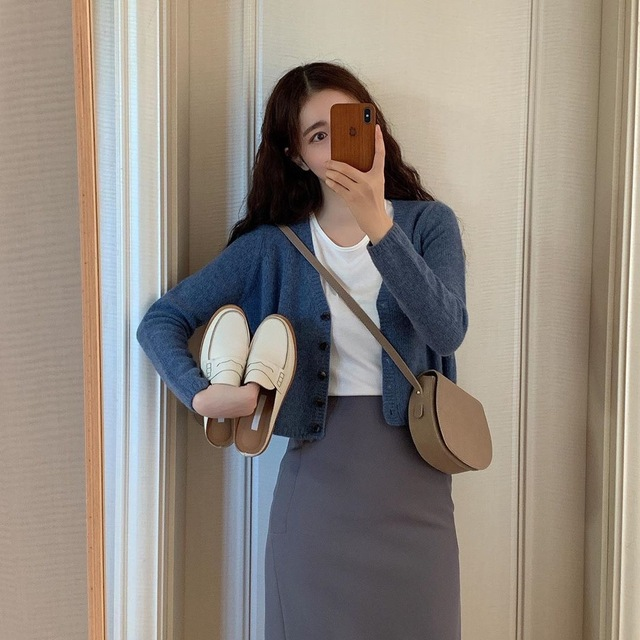 New Women's Sweaters suit Autumn Winter Casual solid V Neck Cardigans sweater Single Breasted Loose Cardigan pencil skirt suits 3