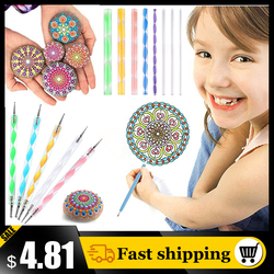 16pcs Mandala Dotting Tools for Painting Rocks Mandala Pottery Pen Stencil Template Handwork DIY Stone Embossing Dot Kit