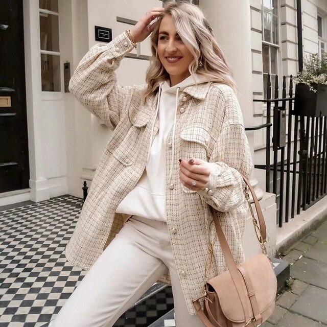 Tweed Women Vintage Oversize Shirt 1