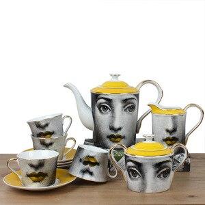 Image 1 - 커피 컵 받침 세트 fornasetti 커피 포트 우유 냄비 설탕 냄비 머그잔 클래식 식기 홈 애프터눈 티 포트 커피 슈트
