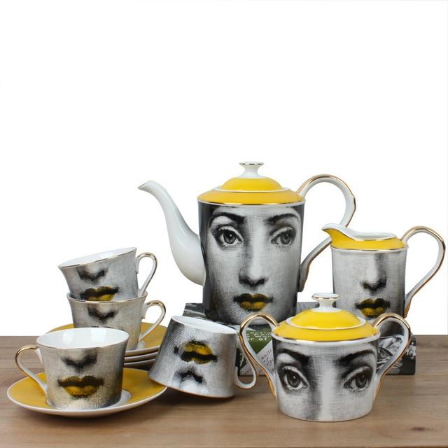 커피 컵 받침 세트 fornasetti 커피 포트 우유 냄비 설탕 냄비 머그잔 클래식 식기 홈 애프터눈 티 포트 커피 슈트