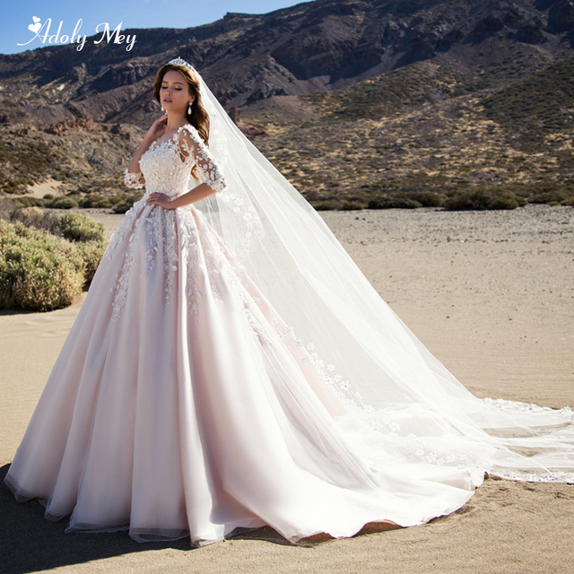 Adoly Mey Romantische Scoop Ansatz Halbe Hülse A Line Hochzeit Kleid 2020 Wunderschöne Appliques Blumen Prinzessin Angepasst Hochzeit Kleid