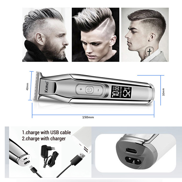 Kemei professional hair clipper beard trimmer men's hair trimmer LCD digital display 0mm cordless haircut electric razor 5 2