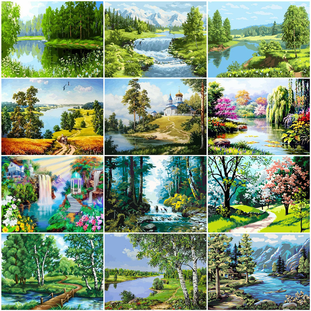 HUACAN Oil Painting By Numbers Scenery DIY Pictures By Numbers Tree Landscape Summer Kits Drawing Canvas HandPainted Home Decor