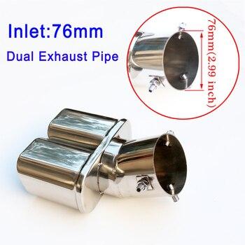 76mm 3 pulgadas tubo de escape Dual escape trasero silenciador cubierta de punta de acero inoxidable para diámetro entre 46mm-71mm Accesorios
