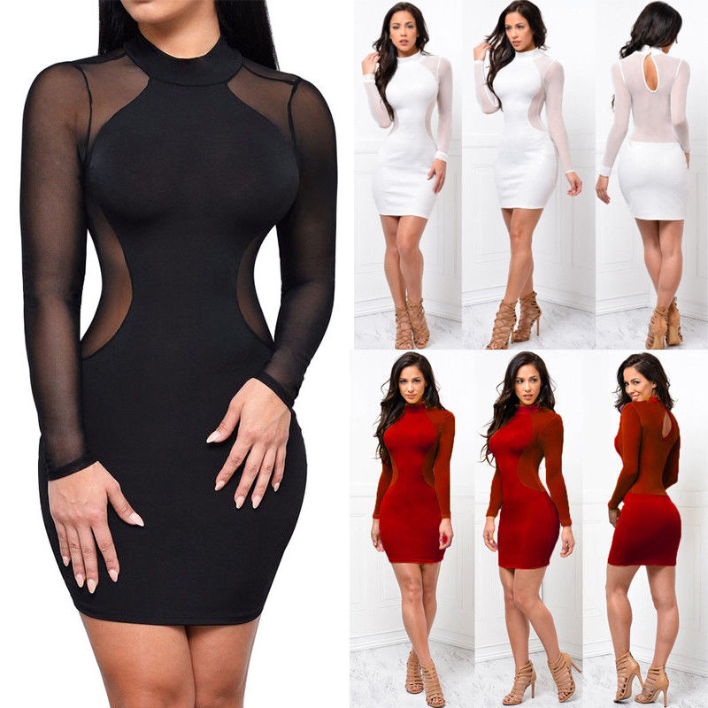 <font><b>Elegant</b></font> <font><b>Long</b></font> Sleeve <font><b>Sexy</b></font> Plus Size <font><b>Dress</b></font> Women Transparent Mini Short Bodycon Bandage <font><b>Dresses</b></font> Lady image