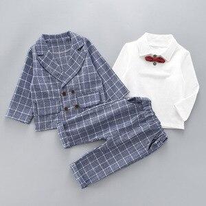 Image 5 - Boys Clothing Sets Plad Suit 3PCS Kids Boys Formal Suit Sets Children Jacket + Pants + Shirt with Bow Clothing Set