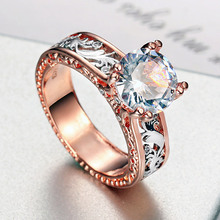 USTAR Cubic Zirconia women Rings for wedding jewelry Sparkly Crystals rose gold Engagement rings Female Anel party gift