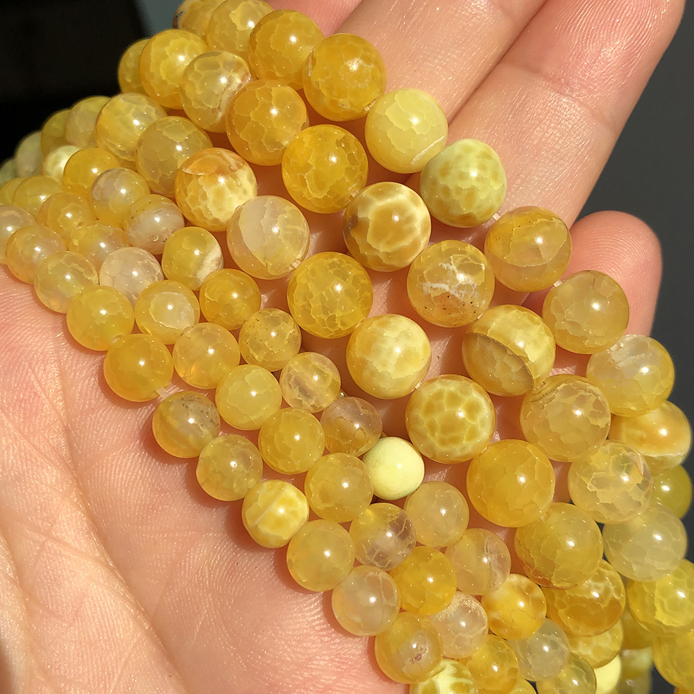 Natural Stone Yellow Cracked Dream Dragon Veins Fire Agates Loose Beads For Jewelry Making 15'' 6/8/10mm DIY Bracelets Necklaces