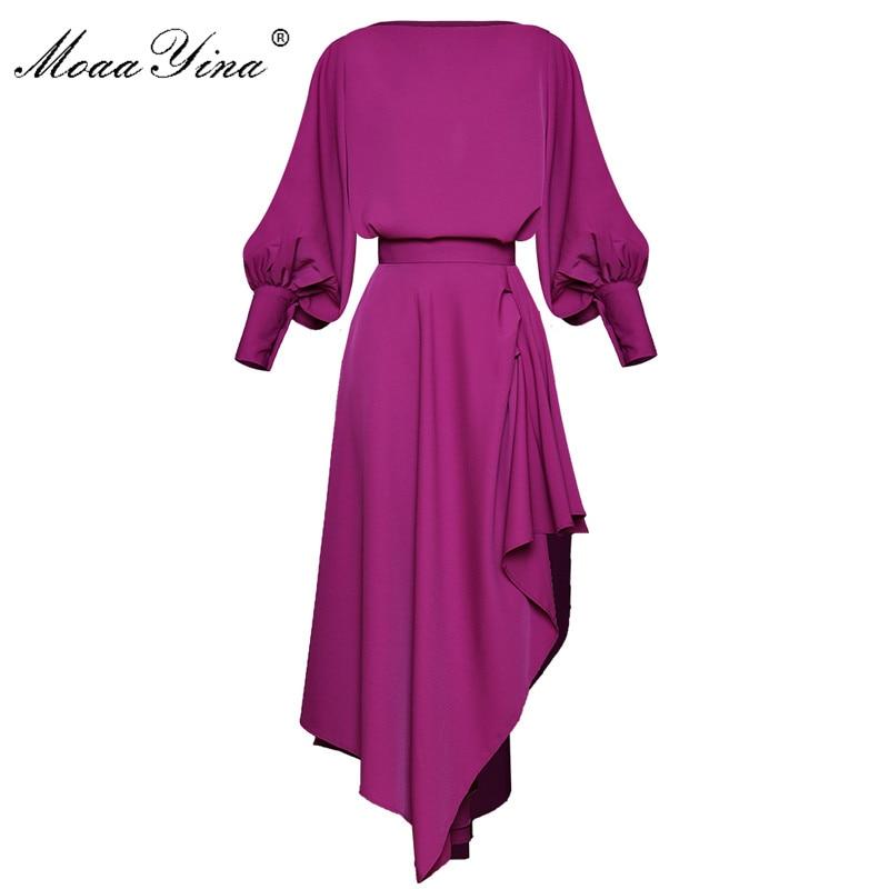 MoaaYina Fashion Designer Suit Spring Summer Women Lantern Sleeve Loose Tops+ Asymmetrical Skirt Two-piece Set