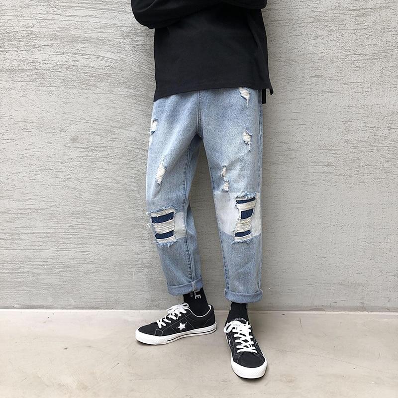 Autumn New Jeans Men Fashion Wash Hit Color Hole Patch Denim TrousersMan Streetwear Wild Hip Hop Loose Jeans Pants Male Clothes