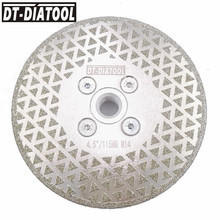 цена на DT-DIATOOL 1pc M14 Flange Dia 115mm/4.5 Electroplated Diamond Cutting Disc Grinding Wheel Both Side Coated Saw Blade For Stone