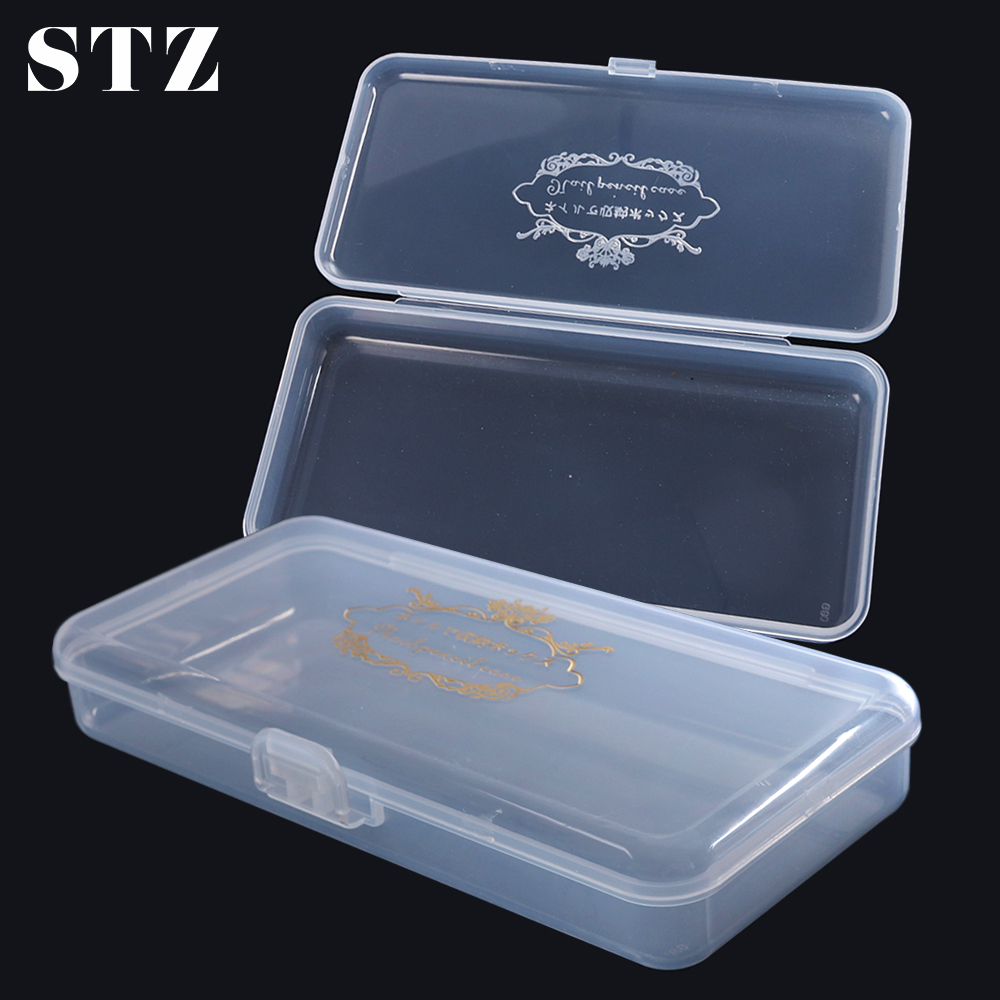 STZ 1pcs Transparent Empty Nail Art Storage Box Plastic Organizer Case Nail Art Equipment Holder Manicure Container Tools #878