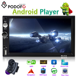 Podofo автомобильный мультимедийный плеер Andriod 2 din 7 gps навигация Bluetooth автомобильный аудио Wifi USB SD Зеркало Ссылка Стерео Авторадио