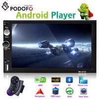 "Podofo Auto Multimedia Player Andriod 2 din 7 ""GPS Navigation Bluetooth Auto Audio Wifi USB SD Spiegel Link Stereo autoradio"