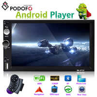 "Podofo lecteur multimédia de voiture Andriod 2 din 7 ""GPS Navigation Bluetooth voiture Audio Wifi USB SD miroir lien stéréo Autoradio"