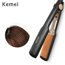 Kemei Professional Hair Curler Electric Curling Iron Corn Perm Splint Flat Iron Wave Board Ceramic Digital Styling Tools KM 472