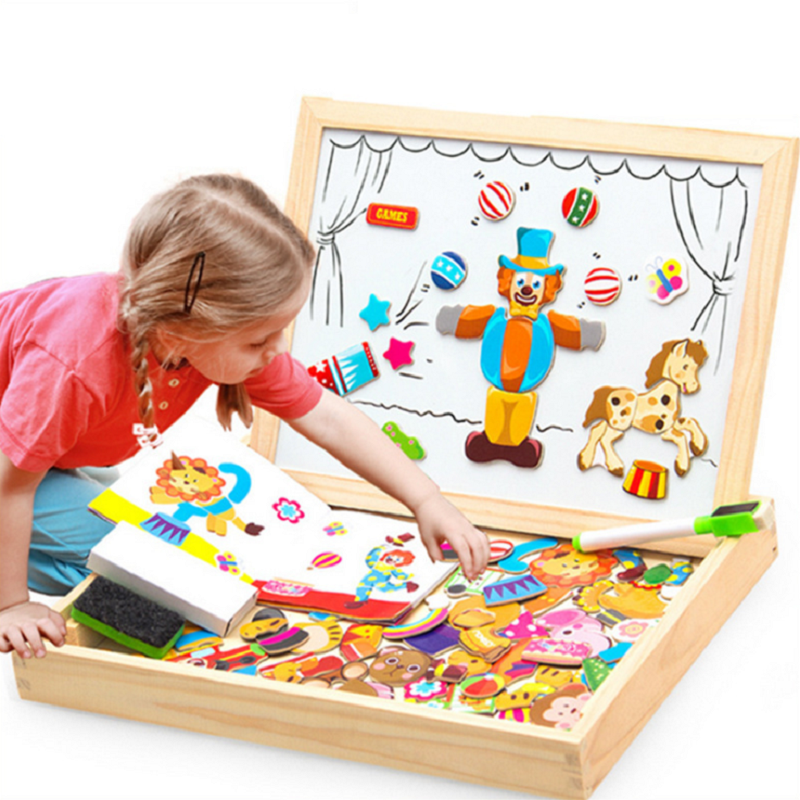 K-STAR 3D Wooden Multifunctional Magnetic Kids Drawing Toys Table Children Puzzle For Education Animal