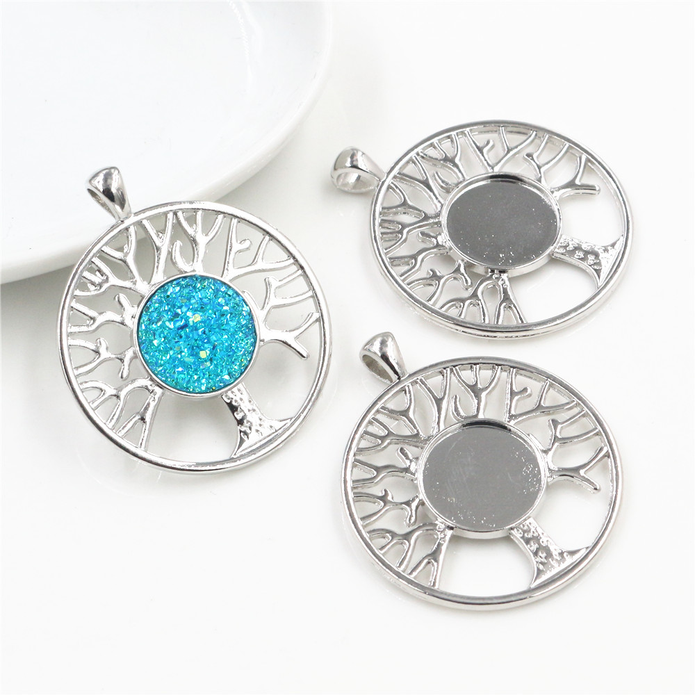 5pcs 14mm Inner Size High Quality Rhodium Colors Plated Tree Style Cabochon Base Cameo Setting Charms Pendant-R7-01