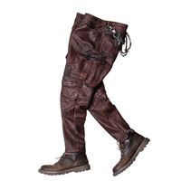 2020 Vintage Grey Men Biker's Trousers Large Size XXXXL Genuine Cowhide Autumn Slim Fit Motorcycle Leather Pants