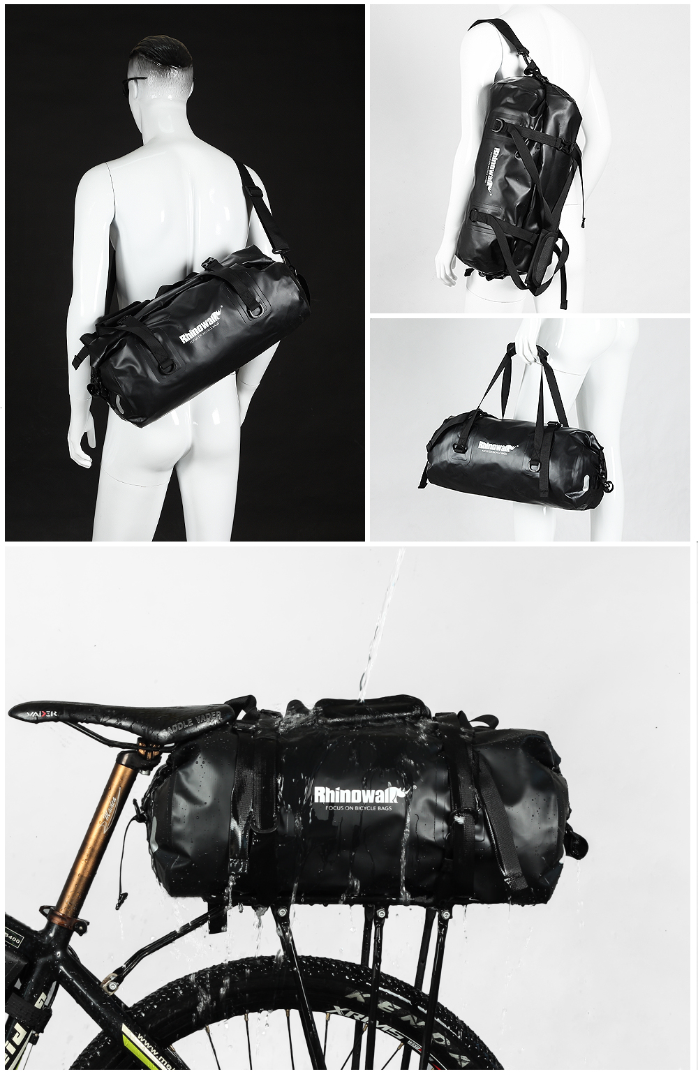 Rhinowalk Bicycle Luggage Bags 20L Full Waterproof for Road Bike Rear Rack Trunk Cycling Saddle Storage Pannier Multi Travel Bag (3)
