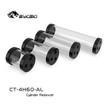 BYKSKI Silber 80/130/180/240mm X 60mm Durchmesser Zylindrischen Wasser gekühlt Tank Aluminium legierung Kühlmittel + Acryl G1/4 Reservoir