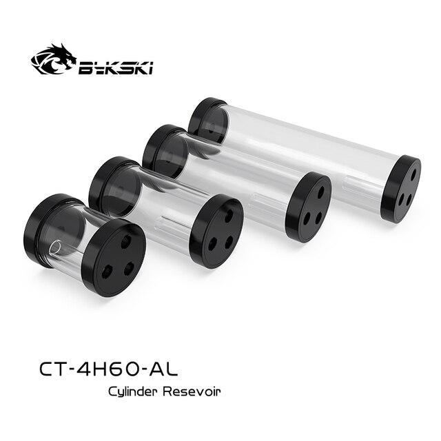 BYKSKI gümüş 80/130/180/240mm X 60mm çaplı silindirik su soğutmalı Tank alüminyum alaşım soğutucu + akrilik G1/4 rezervuar