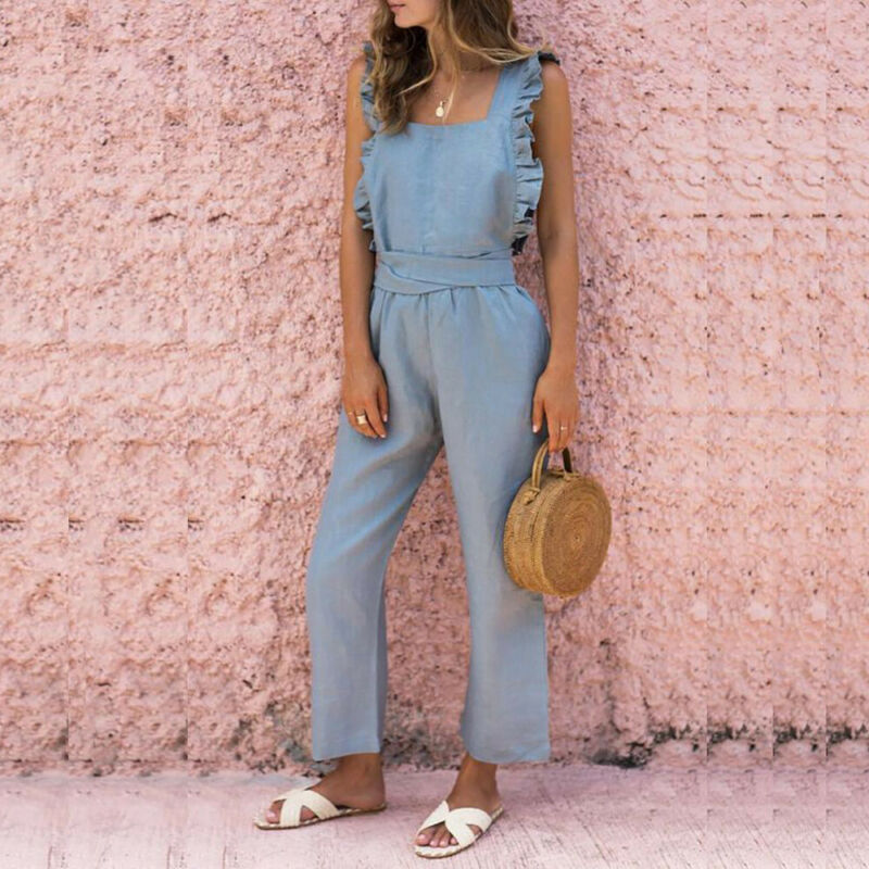 New Women Sleeveless Ruffle Solid Casual Summer Rompers Jumpsuit Loose Pants Overalls Beach Style Playsuits