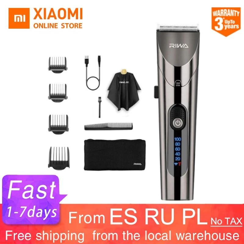 Машинка для стрижки волос Xiaomi RIWA Мужская электрическая, профессиональный триммер с мощной стальной головкой и LED-экраном, моющийся, 2020