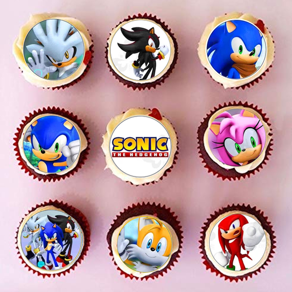 20pcs Lot Sonic The Hedgehog Cupcake Topper Edible Wafer Paper Baby Boy Birthday Love Gift Cake Decorating Tools Party Supply Aliexpress