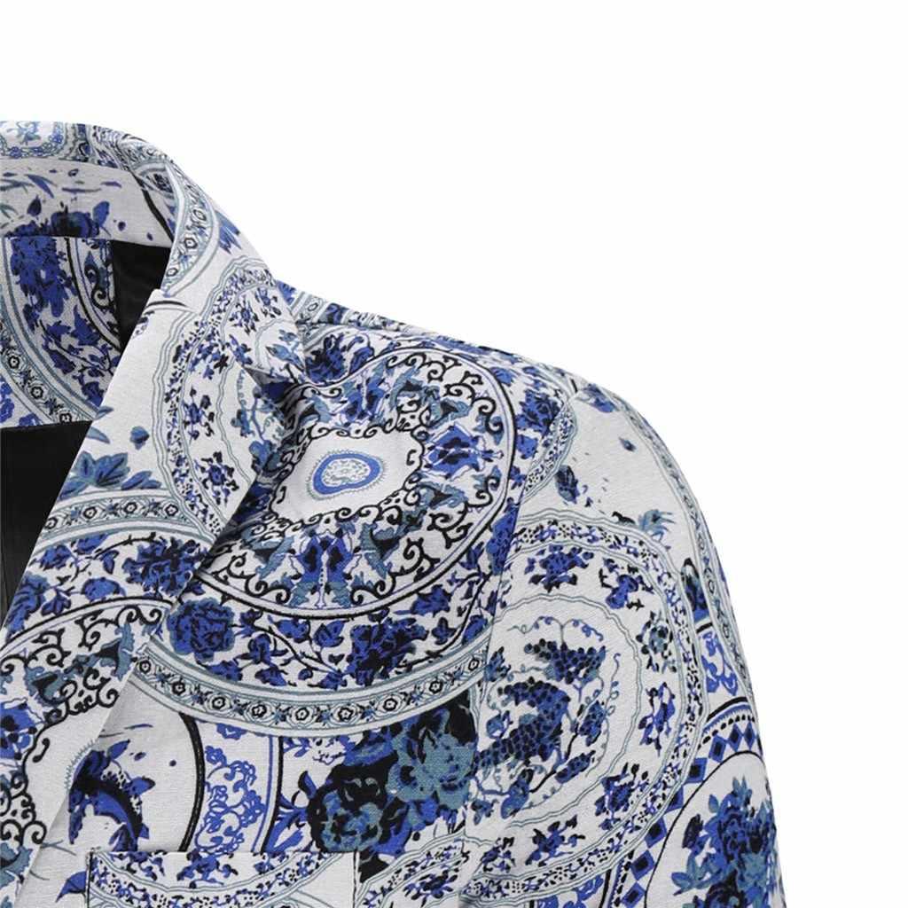 Jaycosin Vintage Etnische Blazer Dunne Jas Mannen Jas Print Bloemen Pak Slim Fit Mannen Merk Kleding 2019 Herfst Blazzer Jassen 9801