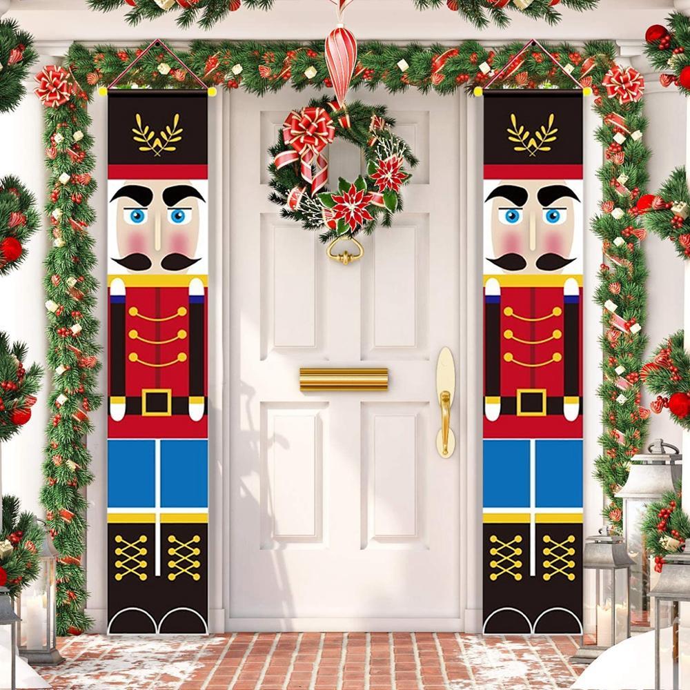 Cartel de soldado Cascanueces, decoración navideña para el hogar, decoración para la puerta de Feliz Navidad 2020, Navidad, 2021