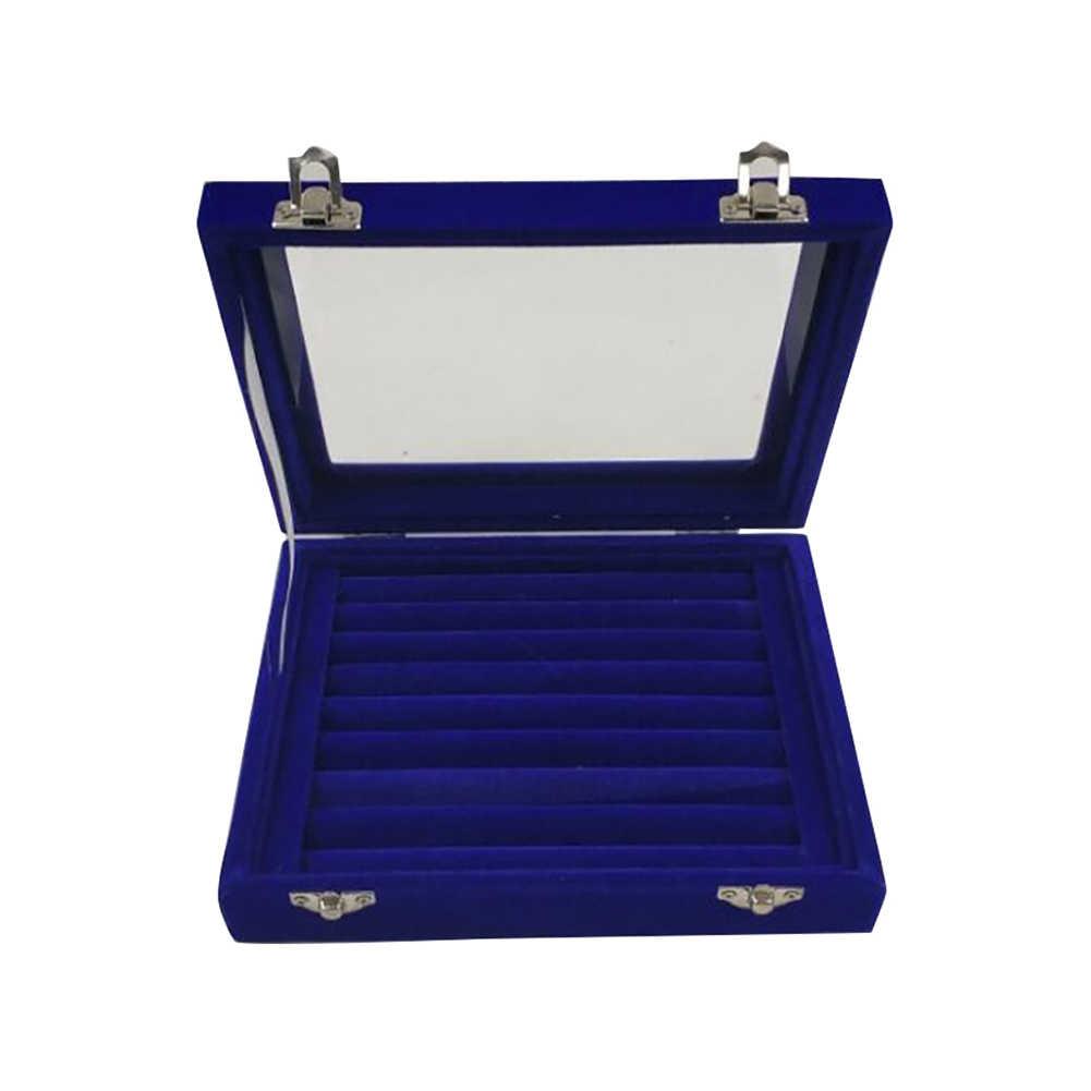 Organizador de joyas portátil de terciopelo, caja de bandeja de almacenamiento de anillo, caja de madera duradera con múltiples ranuras de terciopelo, caja de almacenamiento