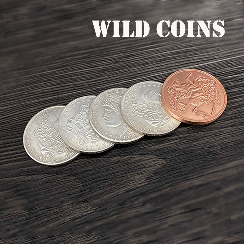 WILD COINS Magic Tricks Four Silver Coins Turn Copper Maiga Magician Close Up Illusions Gimmick Props Funny FISM