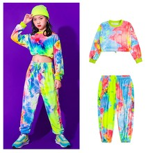 Kids Hip Hop Clothing Multicolor Sweatshirt Causal Pants For Girls Kids Jazz Costumes Ballroom Dancing Clothes Stage Outfits