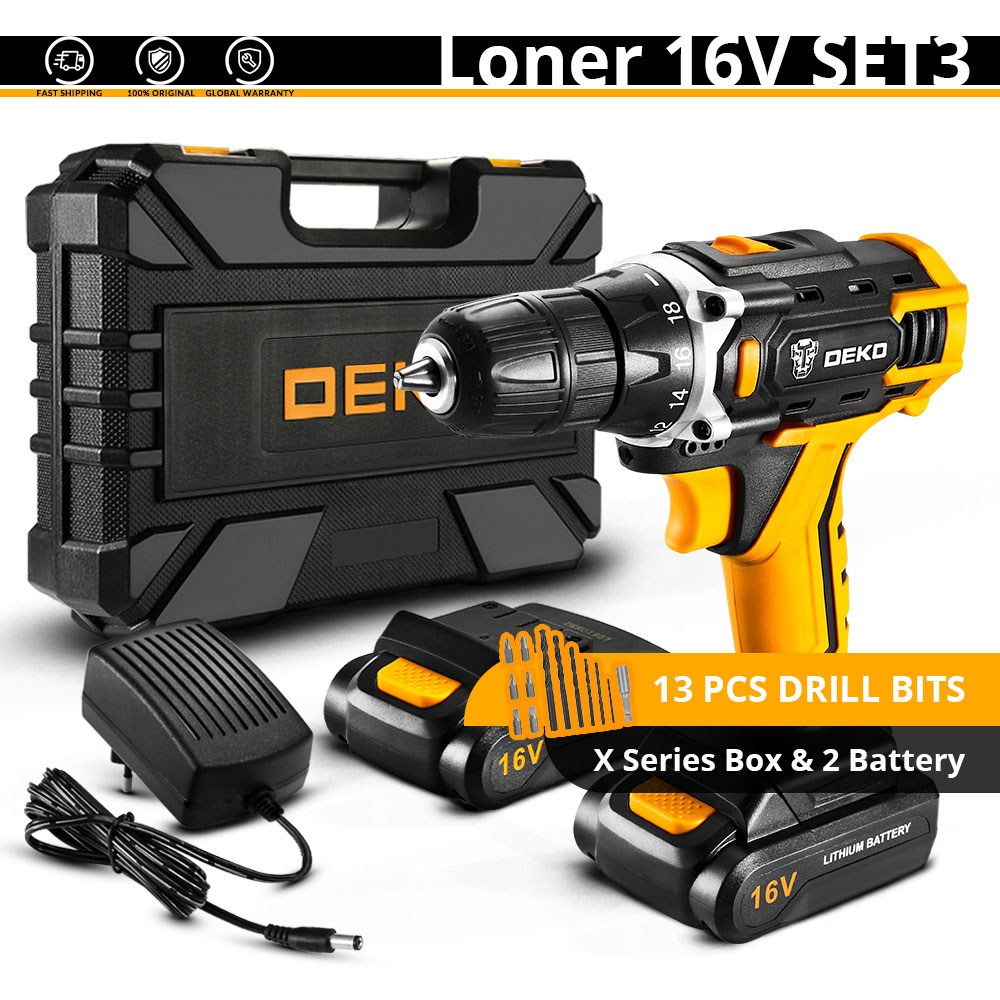 DEKO Новое поступление Banger 12 в 16 В 20 в Аккумуляторная дрель электрическая отвертка мини беспроводной драйвер питания DC литий-ионный аккумулятор 3/8 в - Цвет: Loner 16V SET3