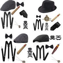6 unids/set hombres fiesta Tema de 1920 Cosplay puesta en escena Gatsby boina puro ver tirantes corbata accesorios de disfraces conjunto