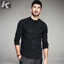Kuegou 2020秋の綿の黒シャツの男性ボタンスタンドスリムフィット長袖男性ブランドのプラスサイズ服6139