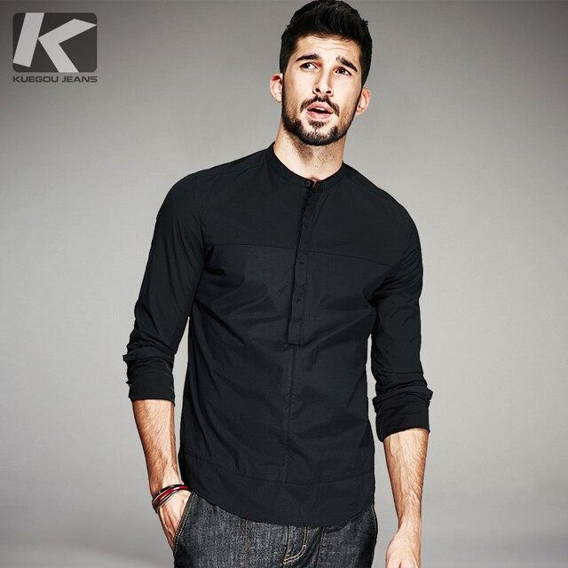 Kuegou 2020 outono de algodão camisa preta dos homens vestido casual botão suporte magro ajuste manga longa para a marca masculina roupas tamanhos grandes 6139