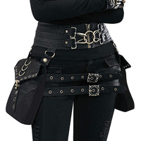 Women Waist Bag Female Fanny Pack Belt Bags Small Leg Bag Steampunk Bags Gothic Messenger Bag Hip Hop Bum Pack Fashion Purse T89
