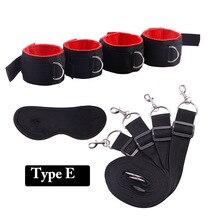 Handcuffs & Ankle Cuffs Under Bed Restraints System BDSM Bondage Belt Fetish,Adult Slave Game Set Sex Products,Sexo Toy for Coup